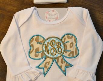 Newborn Gown // Monogrammed Newborn Gown // Personalized Baby Gown // Embroidered Newborn Gown // Newborn Hospital Gown // Zipper Gown