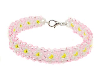 Kids flower bracelet - bracelets #2 - white / pink (BS-1330)