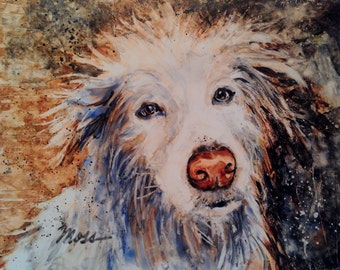 Dog Painting/ Dog Art print/ Dirty Dog/ White Dog/cute Dog/ Watercolor/ watercolor print matted