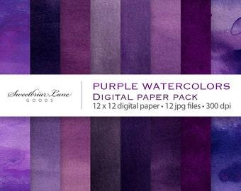 Purple Watercolors Digital ScrapbookPaper for instant download