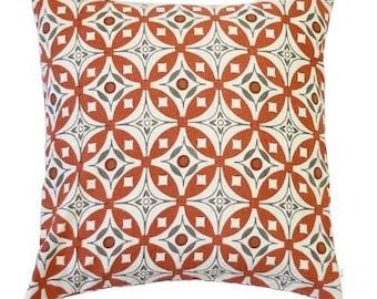 Elmas Handscreen Printed Cushion Cover - Indian Rust / Charcoal Grey 50x50cm