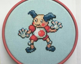 """Mr. Mime Pokemon Cross Stitch in 5"""" Hoop"""