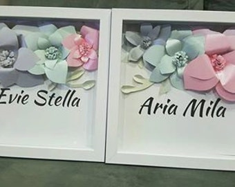 Custom made name shadow box picture frame 30x30