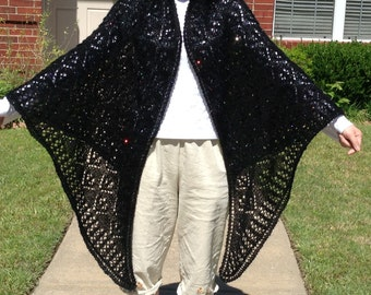 Beaded Sequined Floral Shawl