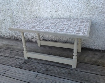 Upcycled Shabby Chic Tiled Coffee Table