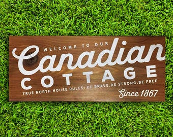 Painted wooden sign, custom Canadian cottage sign, exterior wall art porch decor, front door, outdoor sign, outdoor decor, exterior wall art