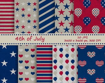 4 of July Digital paper pack vintage style. Independence day, USA patriotic - 10 printable jpeg papers, 3600x3600 px, 300 dpi
