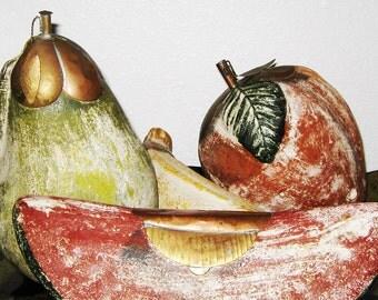 Terra Cotta Fruit - Decorative Fruit - Clay Fruit - Earthy Decor - Large Fruit - Vintage Kitchen - Ceramic Fruits - Faux Fruit - Fake Fruit