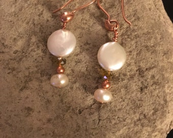 Pearl and copper drop earrings