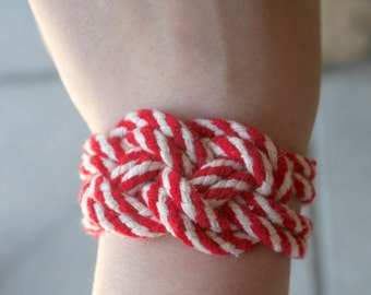 Red and White Rope Bracelet