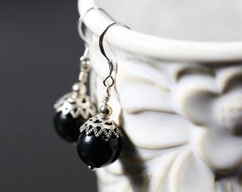 Handmade Earrings, Grade AA Natural Obsidian Beads, Sterling Silver Endings