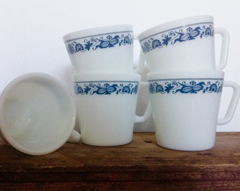 Old Town Blue Pyrex Cups Set of 5