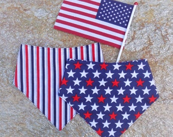 USA Reversible Bandana Bib - Fourth Of July Baby Bib - 4th of July Bib - Patriotic Bib - American Flag - USA Bib - Fourth of July Bib