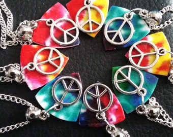 Lucky Dip Tie-Dye Peace Necklace