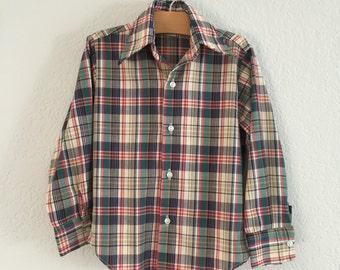70s Boys plaid button down shirt