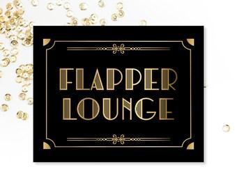 Flapper Lounge, PRINTABLE Sign, Roaring 20's, Art Digital Download, Art Deco, Bathroom Sign, Wedding Decor, Party Decorations, Bridal Shower