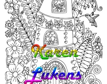 Flower Pot Apartments, 1 Adult Coloring Book Page, Printable Instant Download