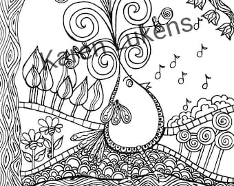 Romeo Strutting, 1 Adult Coloring Book Page, Printable Instant Download
