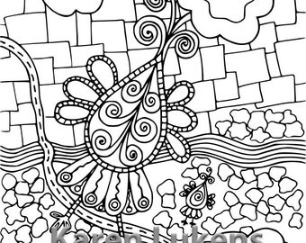 Romeo Flying High, 1 Adult Coloring Book Page, Printable Instant Download