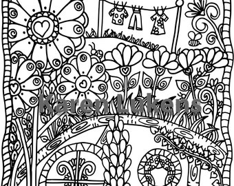 Happy Nugget Hill, 1 Adult Coloring Book Page, Printable Instant Download