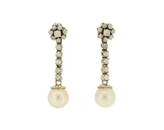 Pearl and Diamond Flower Drop Earrings in 18ct Gold (4018116)