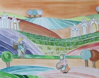 Watercolor Watercolor Painting naive Naeve Huertas Valencianas 4