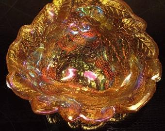 Iridescent Marigold Loganberry Carnival Glass Candy Dish Bowl