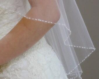 """Wedding Veil - 34"""" Past elbow length bridal veil with hand beaded edge"""