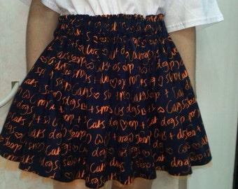 """Skirt """"Cats&Dogs"""" / Blue Skirt / Swing skirt / 50s skirt / short skirt / Blue and Orange skirt / Skirt with Tulle / cute skirt / vintage"""