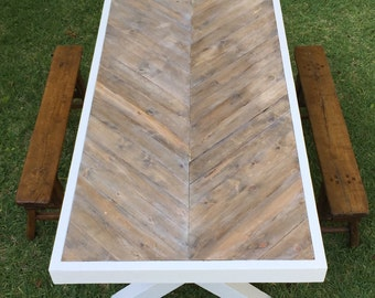Custom Chevron Table **LOCAL PICKUP ONLY**