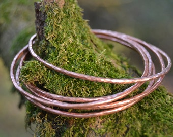 Set of Three Copper Bangles
