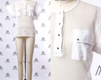 1980s Modernist White Cotton Mesh Top with Patch Pockets