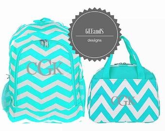 Monogram Aqua Chevron backpack and lunch bag- personalized bookbag