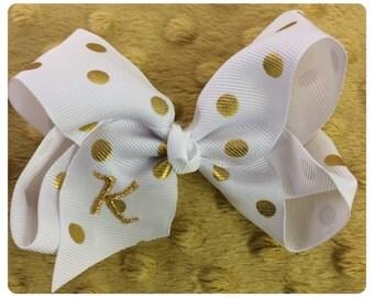 Monogrammed polka dot metallic bow