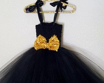 Black Tutu Dress with Gold Bow
