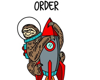 Pre order/ space sloth pin