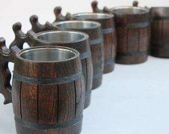 Set of Handmade Wooden Beer Mugs Great Gift Ideas , Personalized wooden beer mug , wood tankard, Paradisewood
