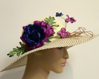 lady summer hat with flowers,
