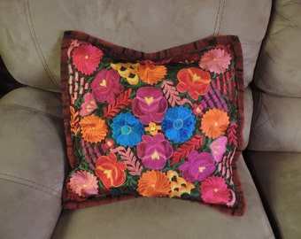 Embroidered red pillowcase