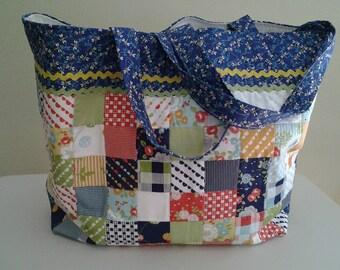 Large cotton handamde tote bag