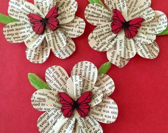Handcut Book paper flowers with butterfies or coloured gems for crafting and embellishing. Pack of 3