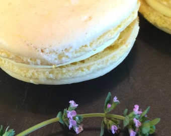 Lemon Macarons with cream cheese and lemon thyme filling