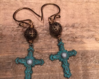 Patina crosses hammered ear wires handmade