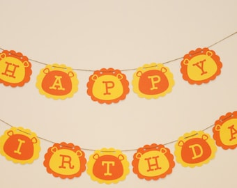 Critter party-lion, Happy Birthday Banner, lion theme party