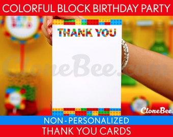 Colorful Blocks Birthday Party - Thank You Card & Bonus: Party Sign NonPersonalized Printable // Colorful Blocks - B22Nl