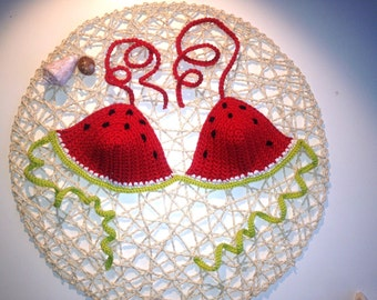 """Watermelon"" crochet bikini top"