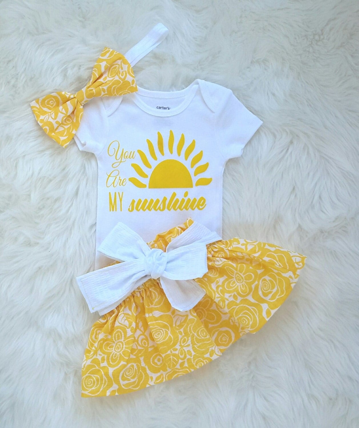 You Are My Sunshine Outfit Baby Girl Outfit 3 Piece Outfit