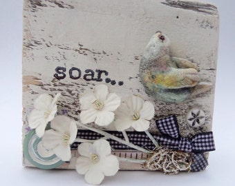 Chunky Wood Art Block mixed media collage assemblage Bird