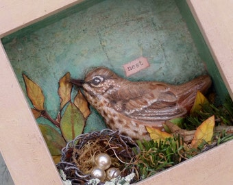 Original framed Art collage Bird Nature country shabby chic home decor