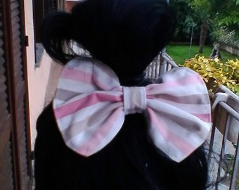 White pink and grey hair bow